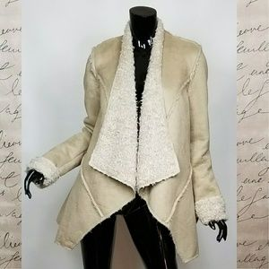 Faux Asymmetrical Hem Shearling Jacket